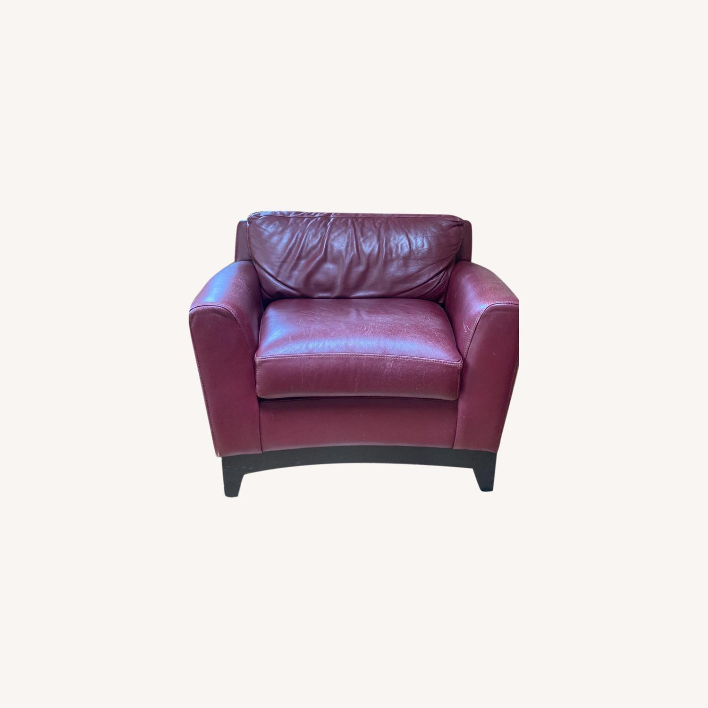 Burgundy Genuine Leather Chair - image-0