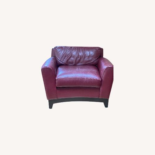 Used Burgundy Genuine Leather Chair for sale on AptDeco