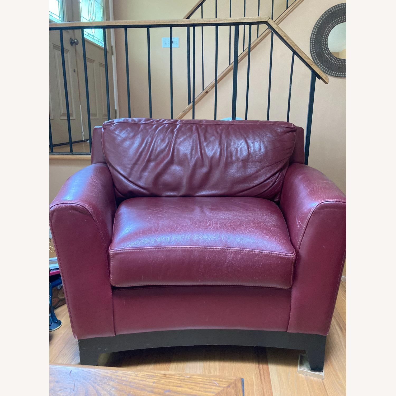 Burgundy Genuine Leather Chair - image-1