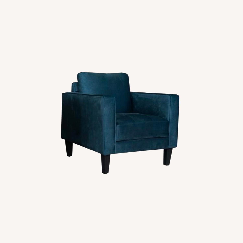 Modern Style Chair In Dark Teal Velvet Finish - image-4