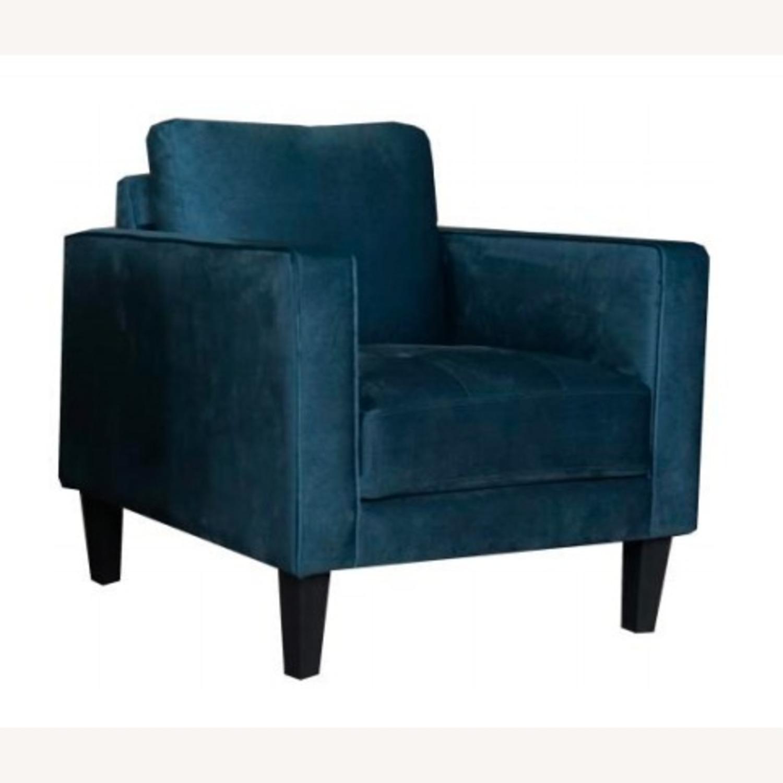 Modern Style Chair In Dark Teal Velvet Finish - image-0