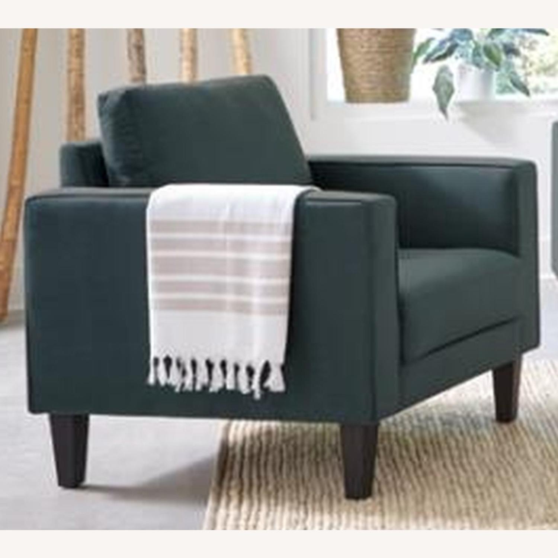 Modern Style Chair In Dark Teal Velvet Finish - image-1