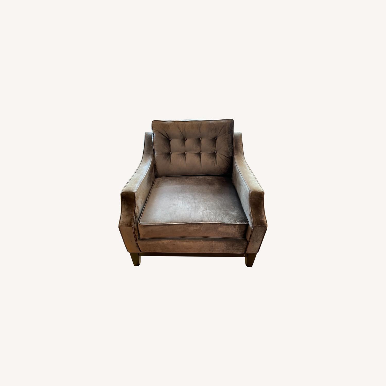 Golden Custom Velvet Arm Chair - image-0