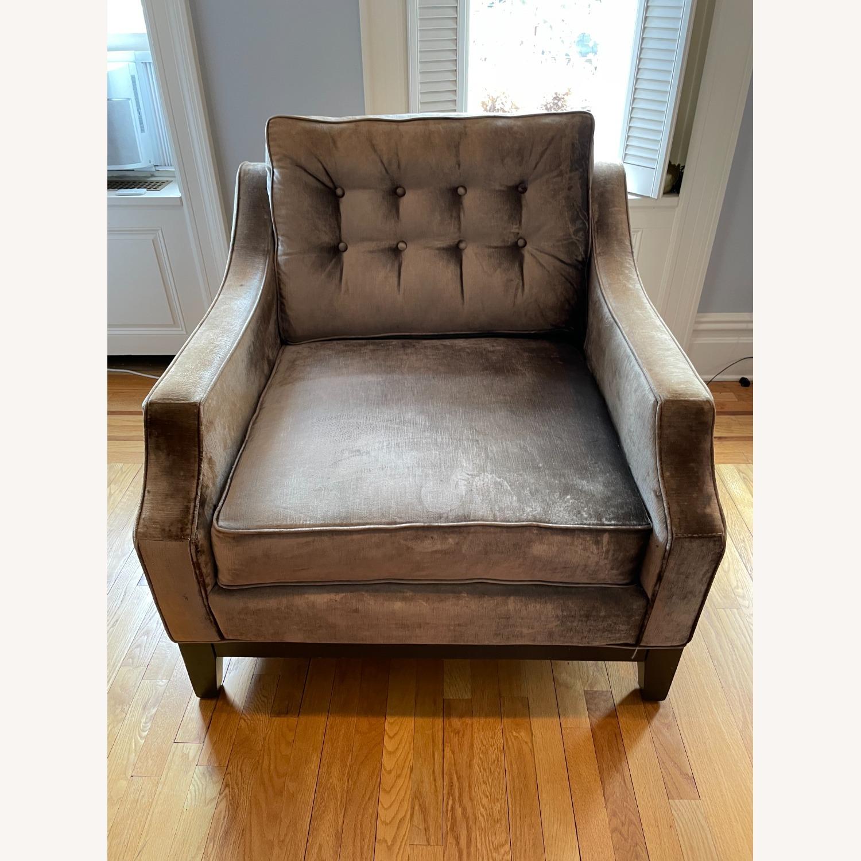 Golden Custom Velvet Arm Chair - image-1