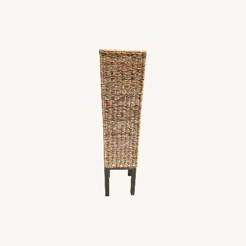 Used Wicker High Stand Flower Pot with Metal Pedestal for sale on AptDeco