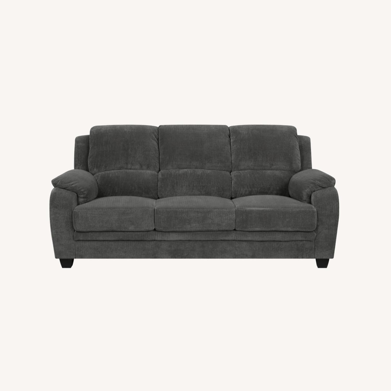 Sofa In Charcoal Chevron Velvet Upholstery Finish - image-5