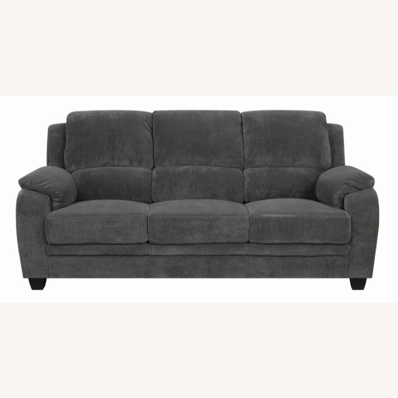 Sofa In Charcoal Chevron Velvet Upholstery Finish - image-0