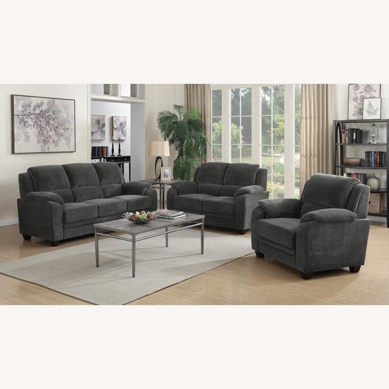 Sofa In Charcoal Chevron Velvet Upholstery Finish - image-3