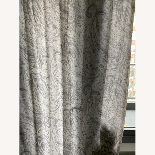 Used Pottery Barn Gray Paisley Cotton Linen Curtains for sale on AptDeco
