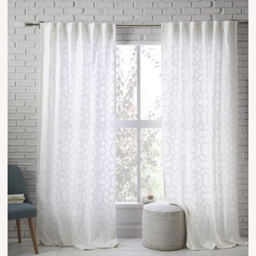 Used West Elm White Sheer Lattice Curtains for sale on AptDeco