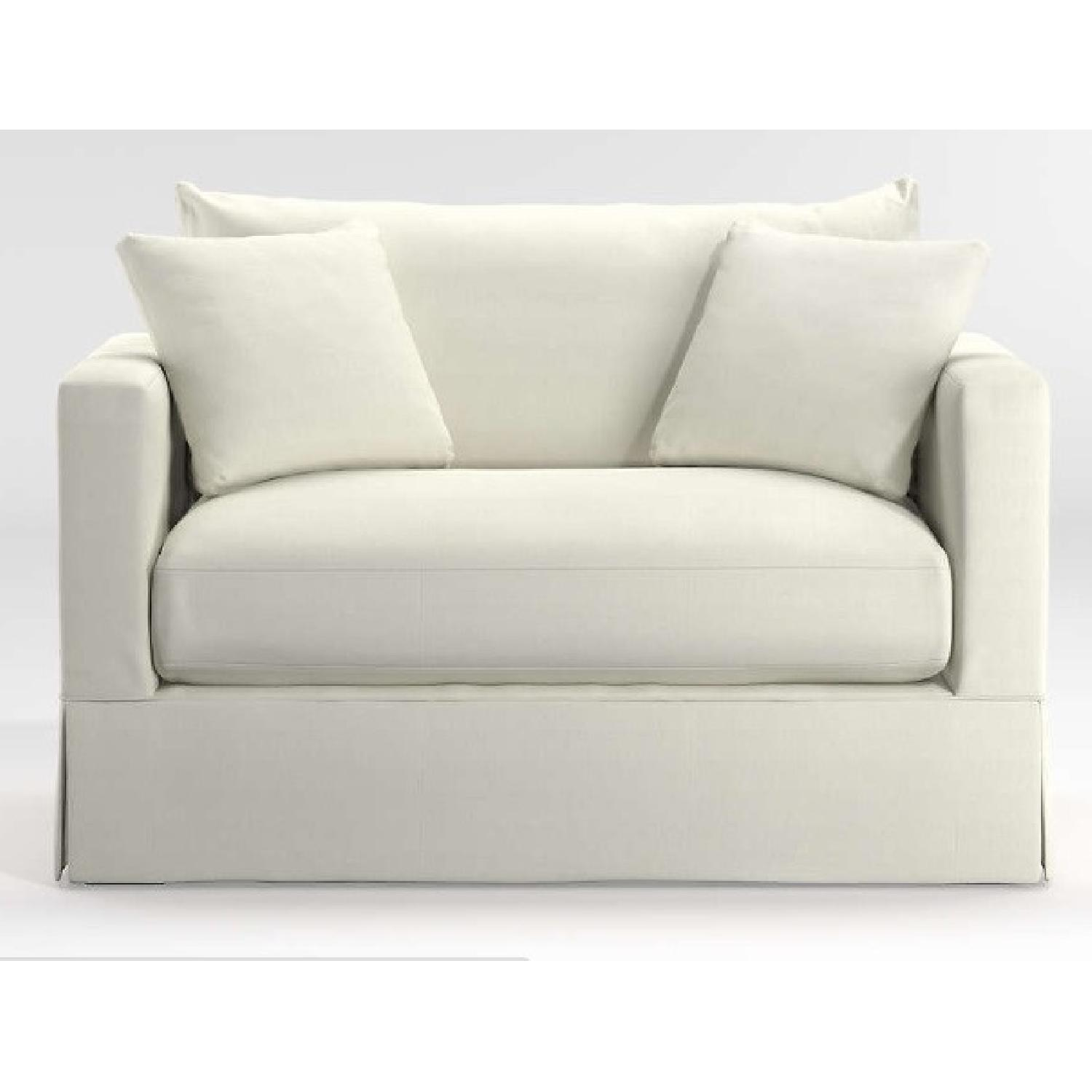 Crate & Barrel Extra Large White Linen Chair - image-5