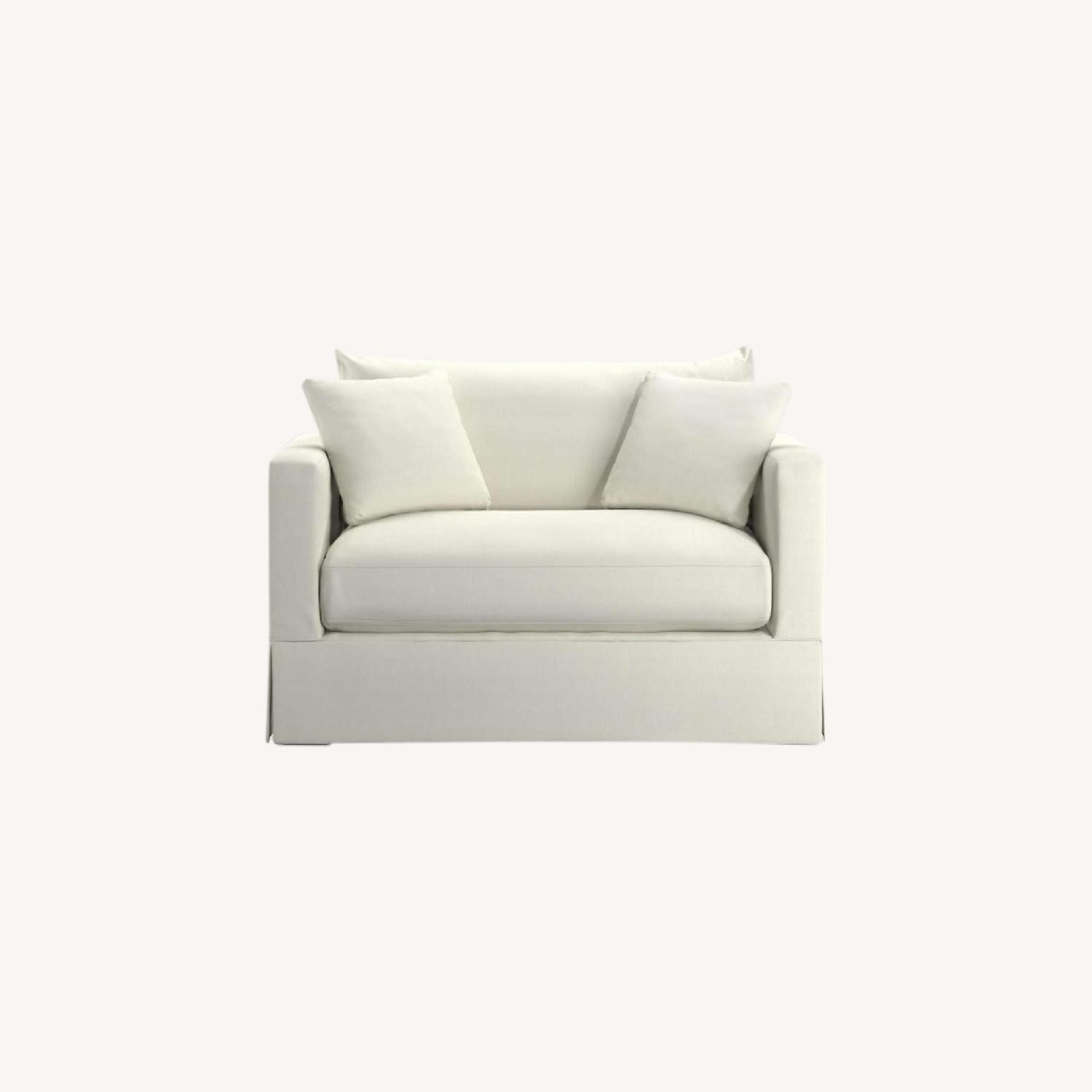Crate & Barrel Extra Large White Linen Chair - image-0
