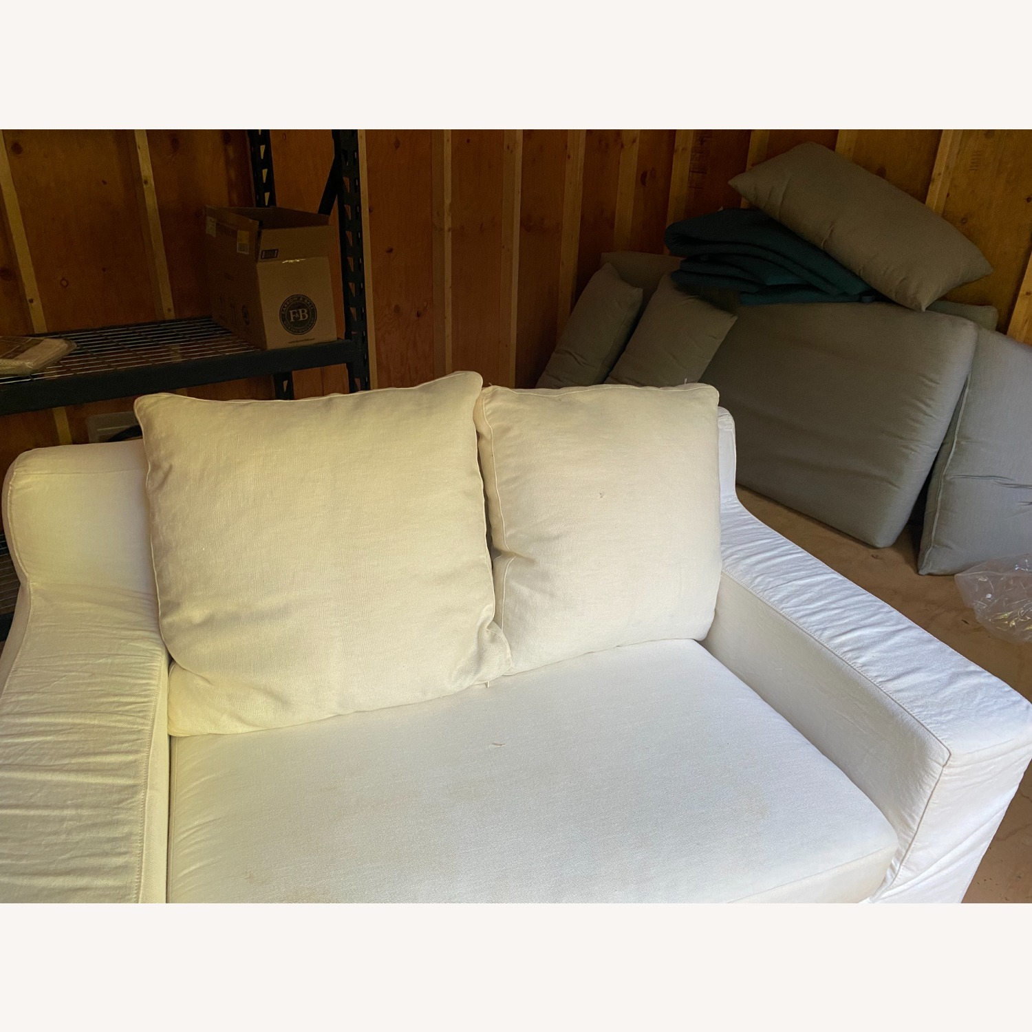 Crate & Barrel Extra Large White Linen Chair - image-7