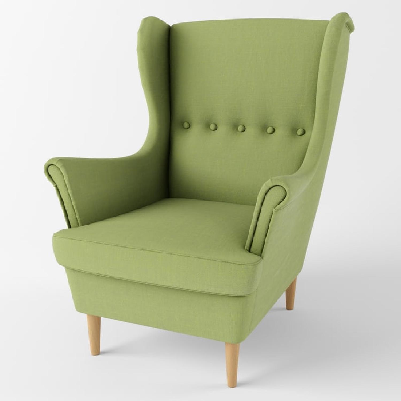 IKEA Green Wingback Chair - image-5