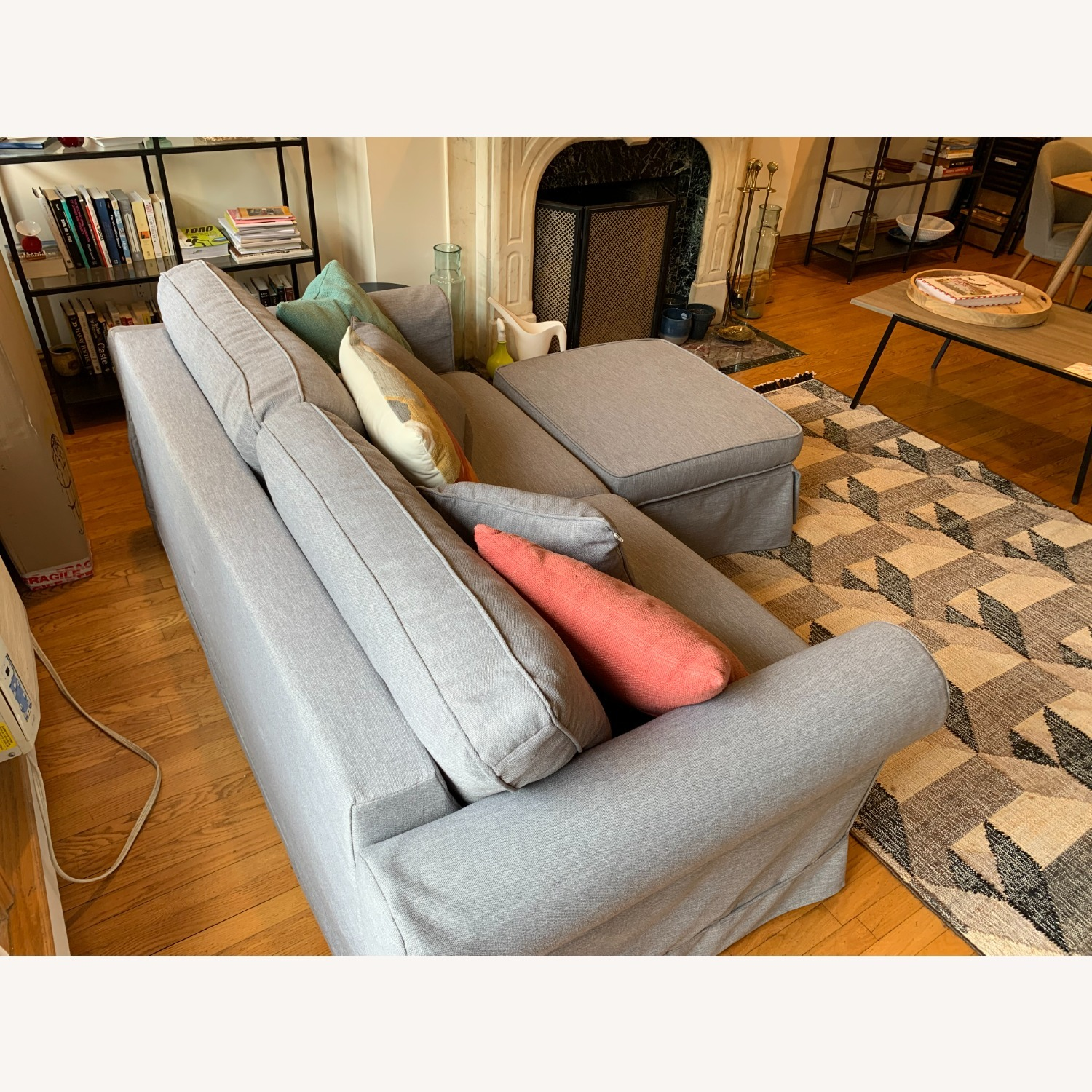 Grey Sofa Bed with Foot Rest - image-4