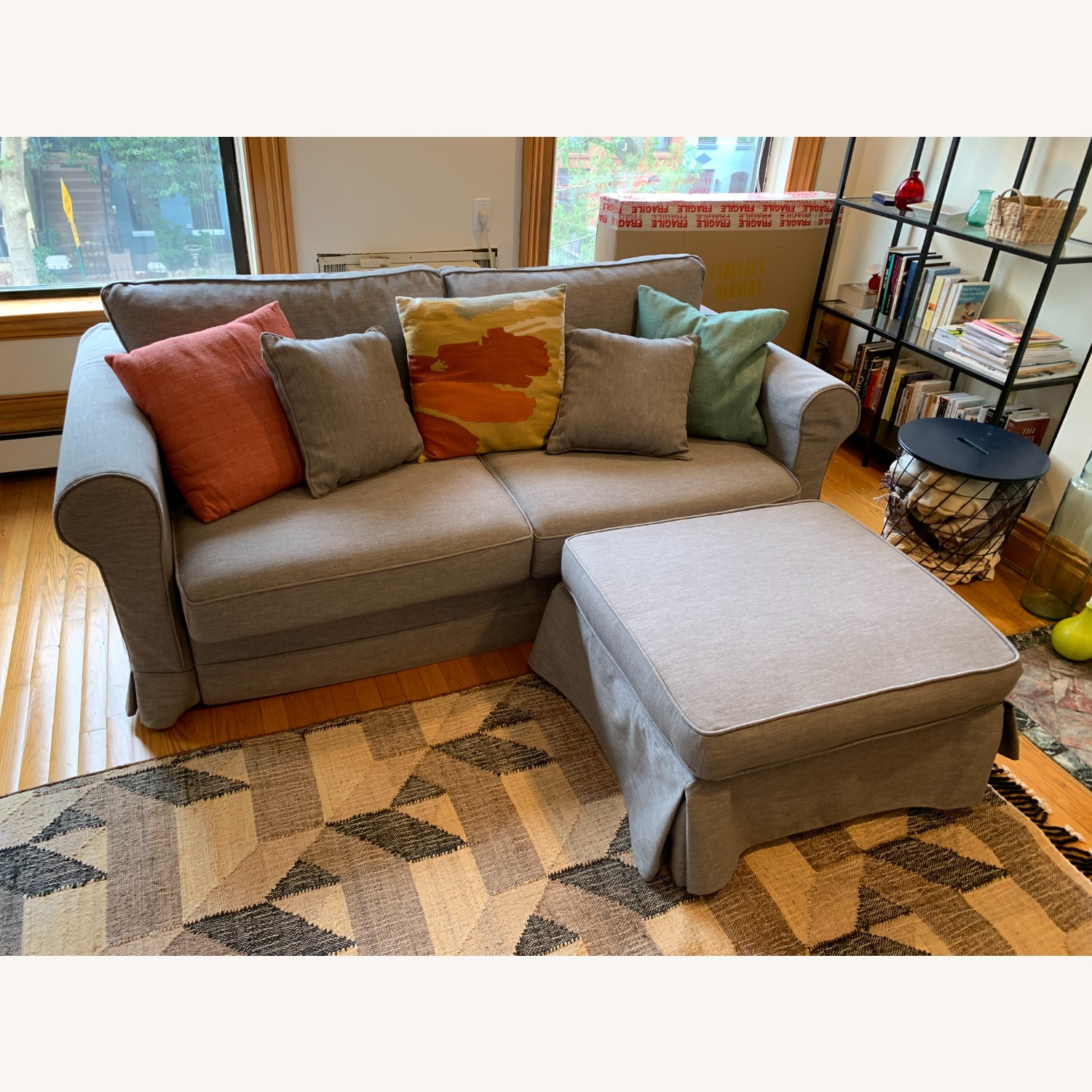 Grey Sofa Bed with Foot Rest - image-1