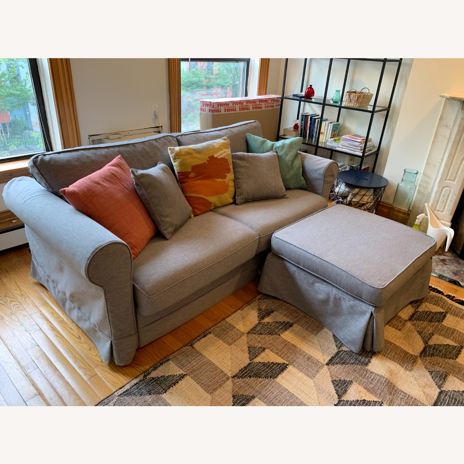 Grey Sofa Bed with Foot Rest - image-2