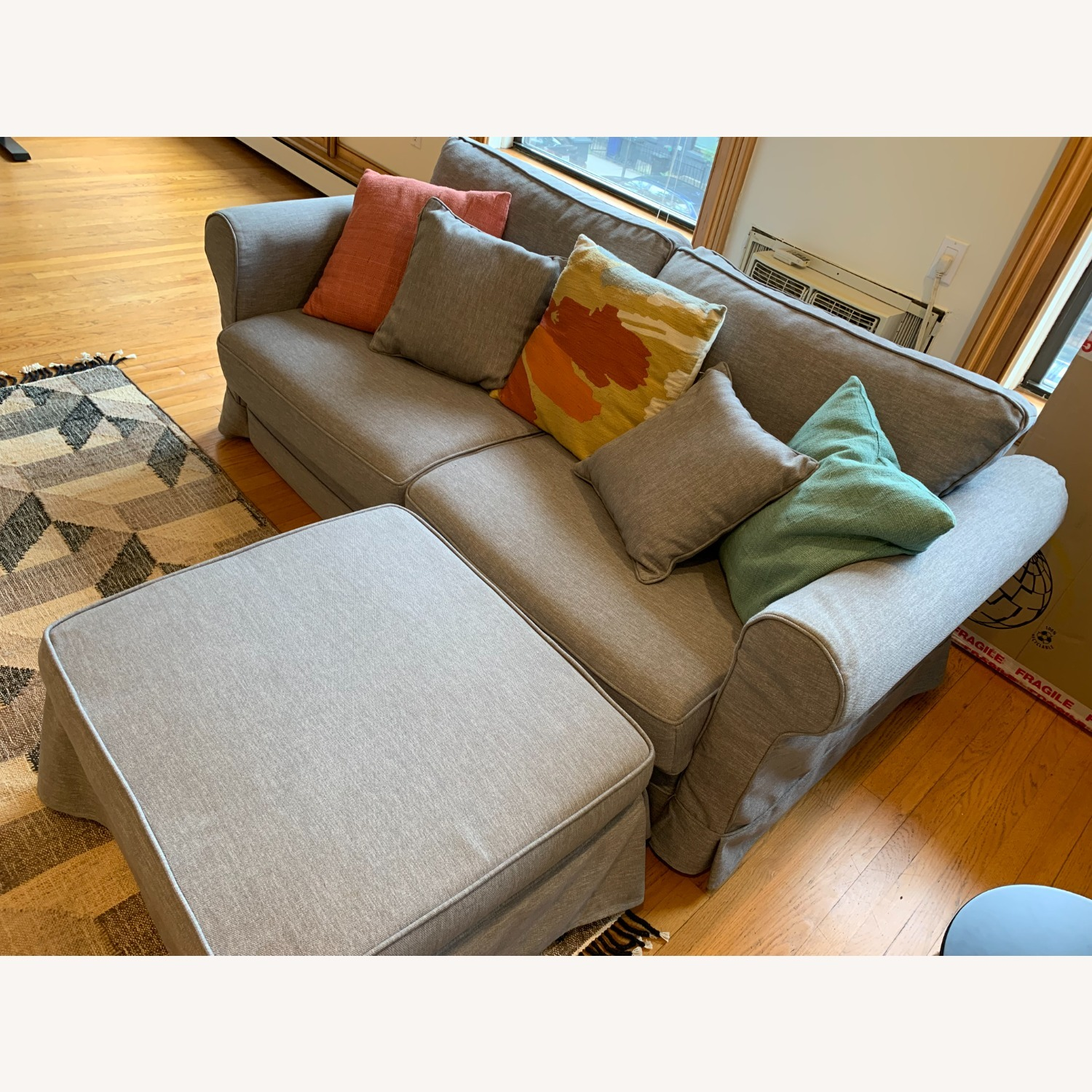 Grey Sofa Bed with Foot Rest - image-3