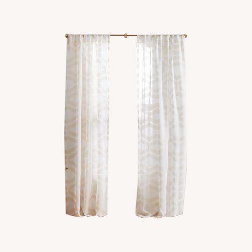 Used West Elm Semi-Sheer Jacquard Curtain - Alabaster for sale on AptDeco