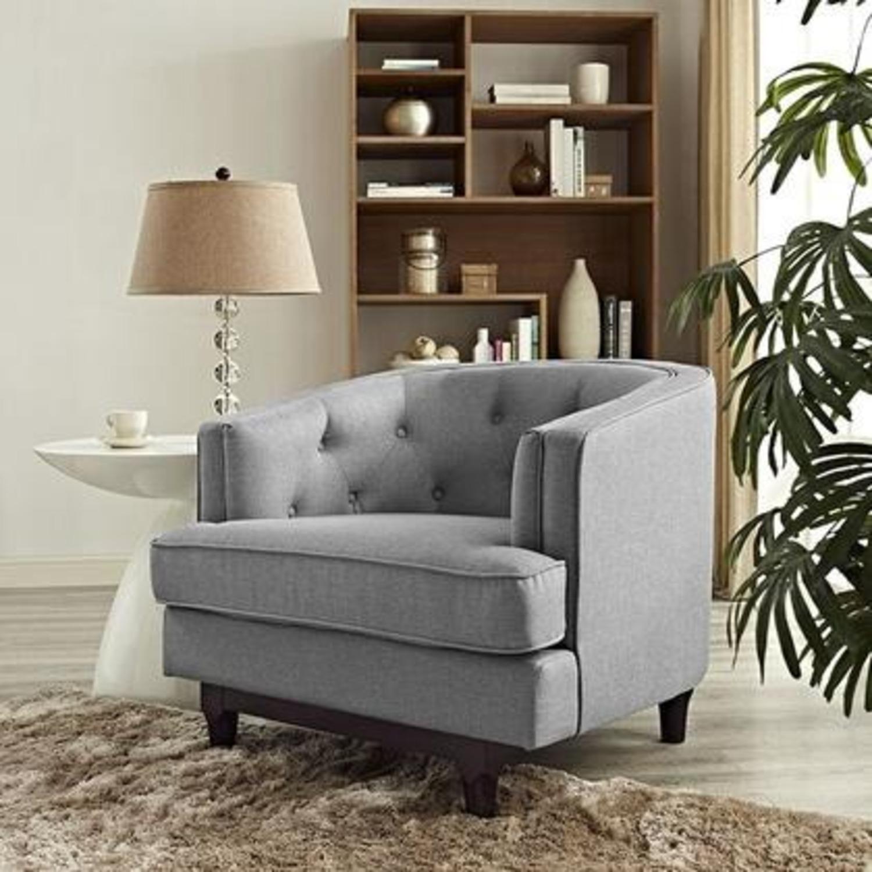 Armchair In Light Gray Fabric W/ Walnut Wood Legs - image-4