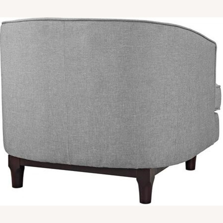 Armchair In Light Gray Fabric W/ Walnut Wood Legs - image-3