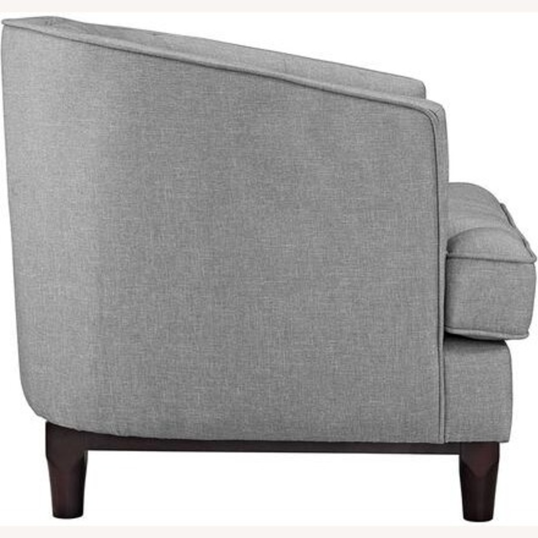 Armchair In Light Gray Fabric W/ Walnut Wood Legs - image-1