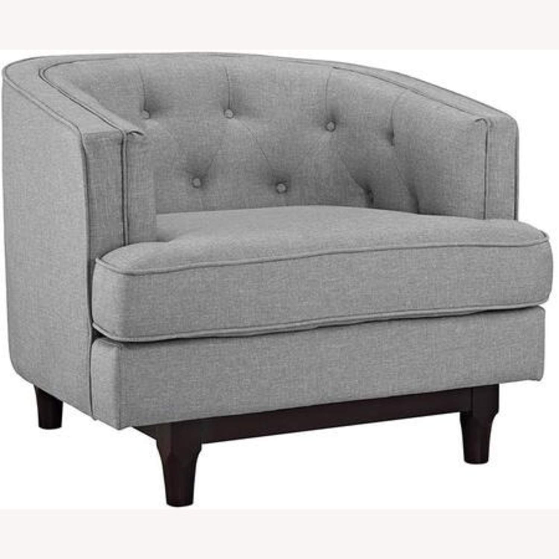 Armchair In Light Gray Fabric W/ Walnut Wood Legs - image-0
