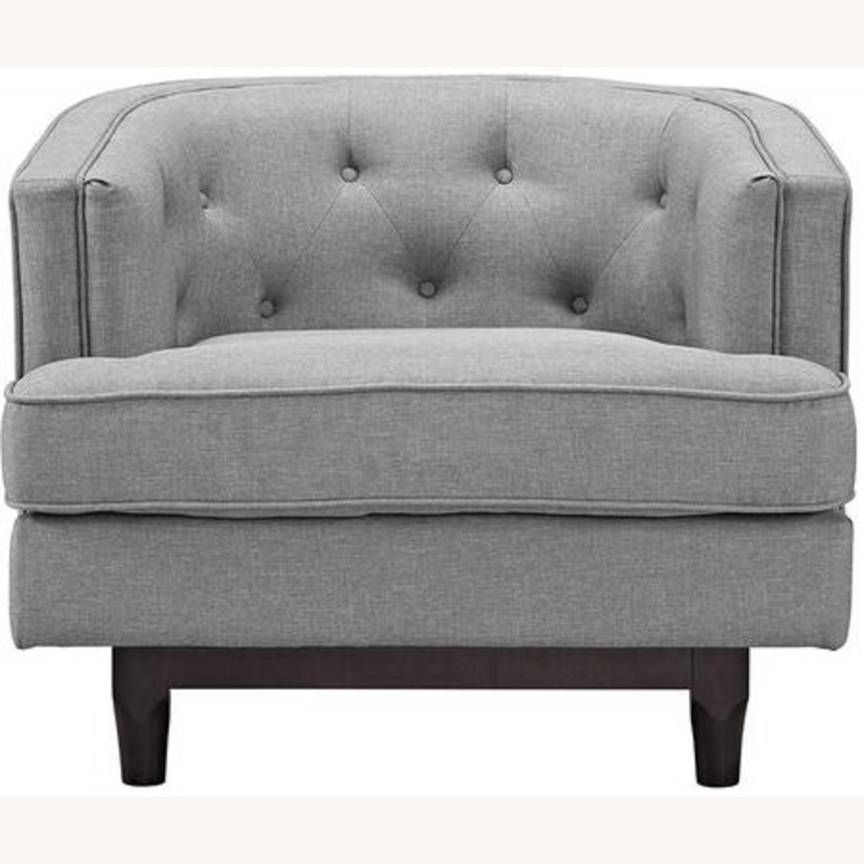 Armchair In Light Gray Fabric W/ Walnut Wood Legs - image-2