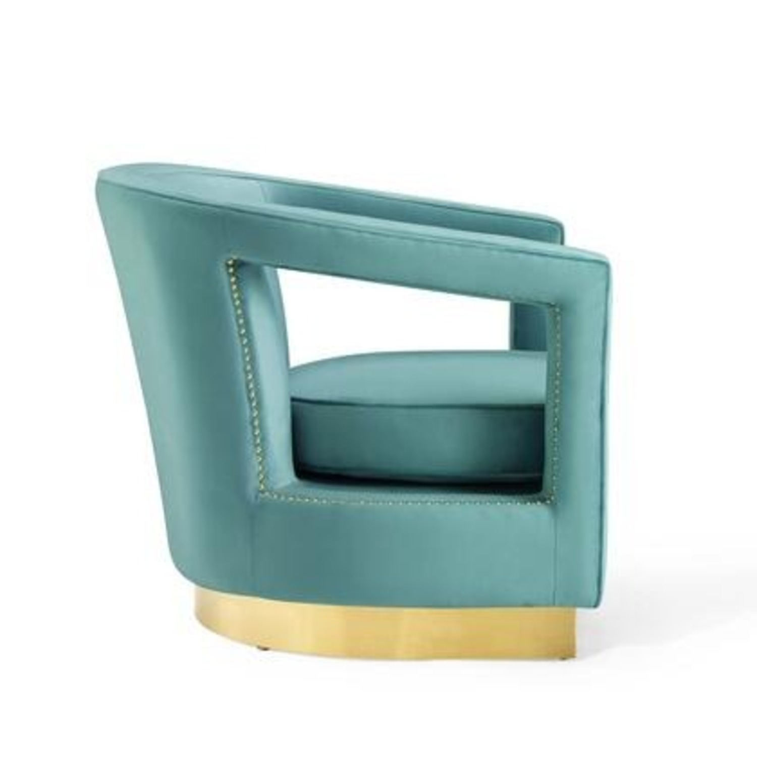 Glam Deco Style Armchair In Mint Velvet Fabric - image-1