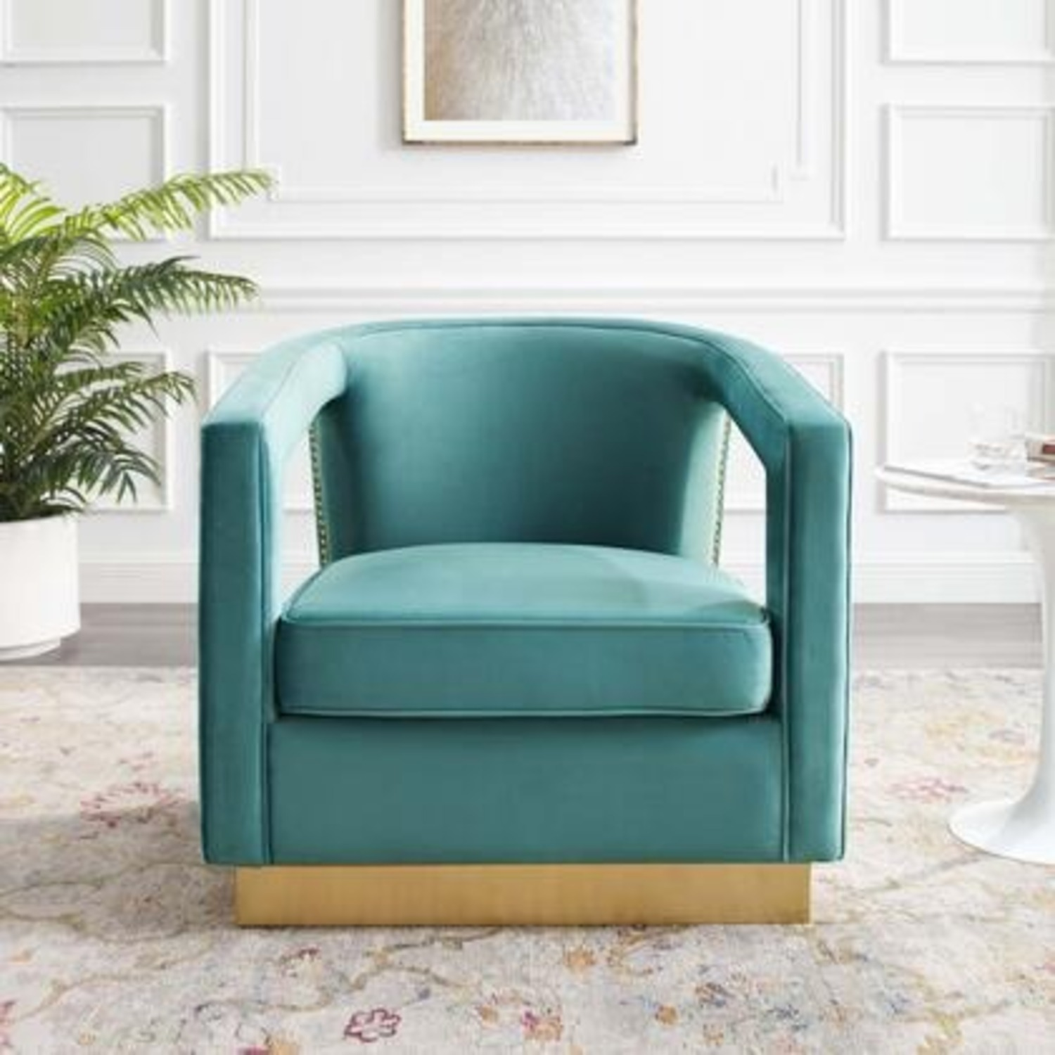 Glam Deco Style Armchair In Mint Velvet Fabric - image-6