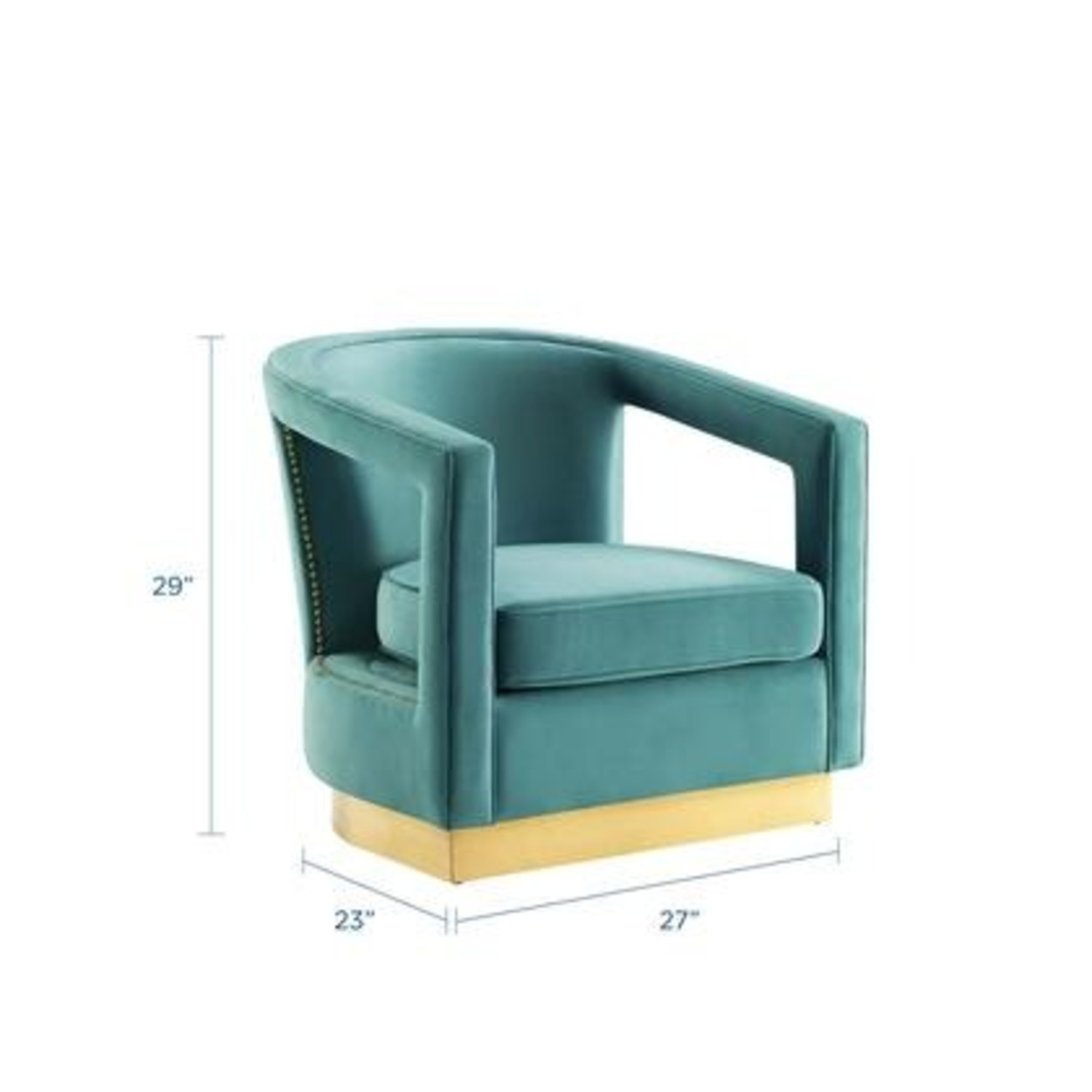 Glam Deco Style Armchair In Mint Velvet Fabric - image-7