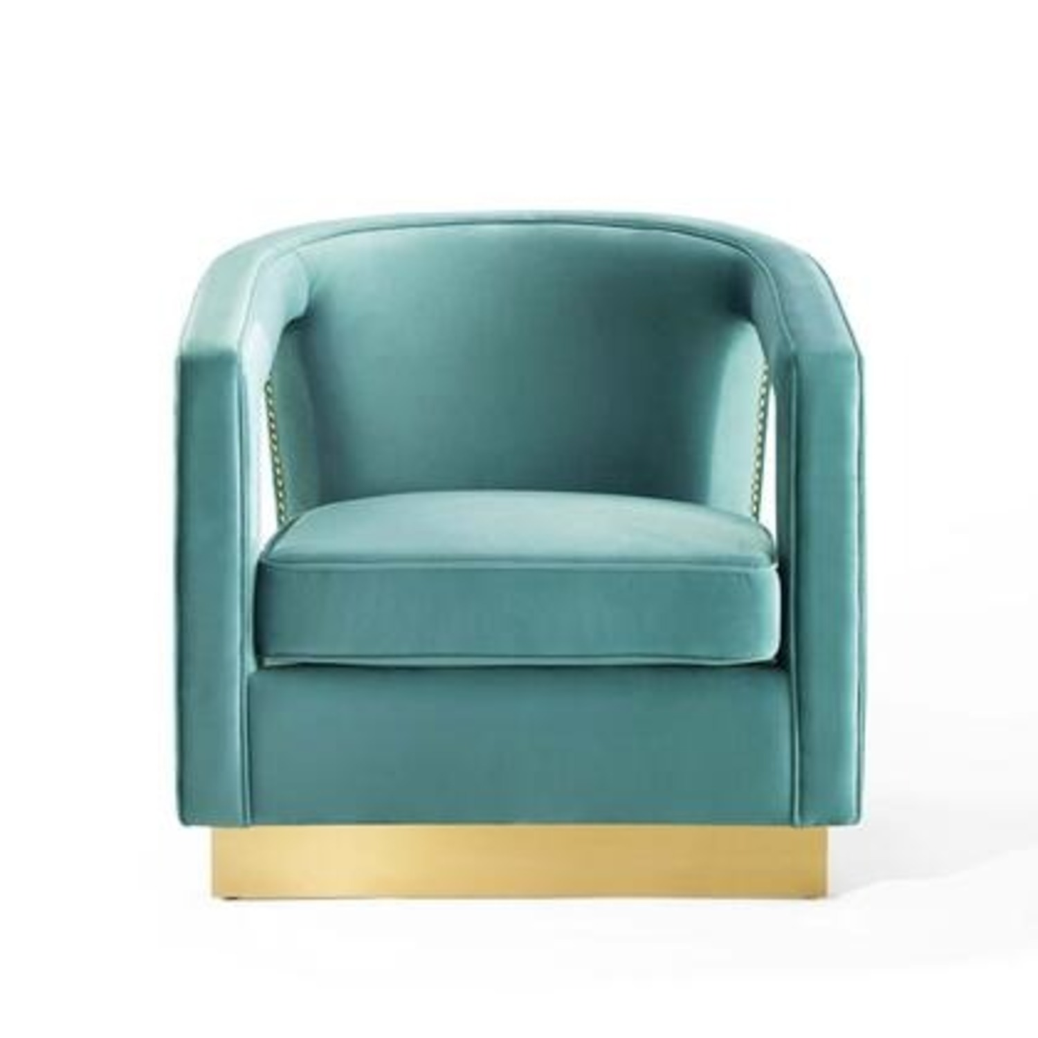 Glam Deco Style Armchair In Mint Velvet Fabric - image-3