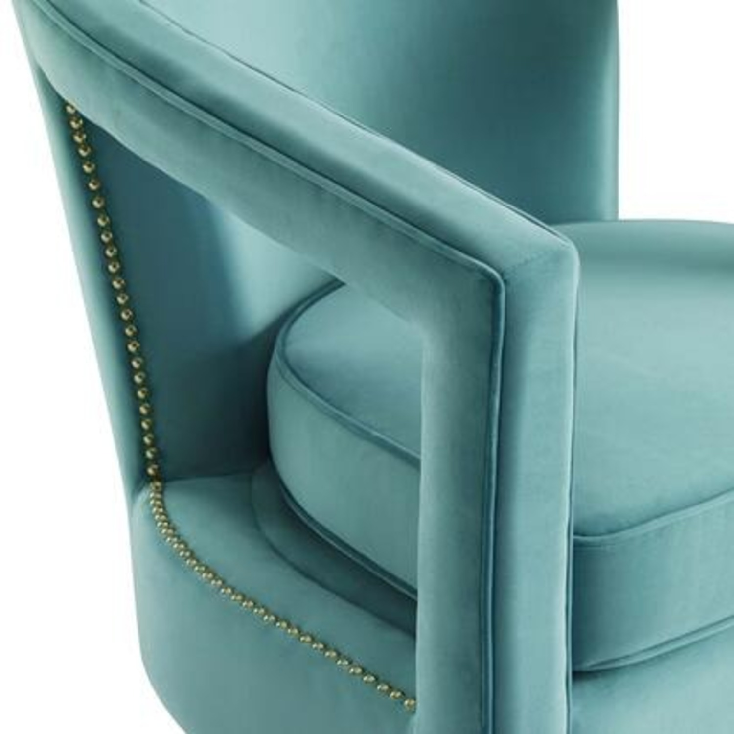Glam Deco Style Armchair In Mint Velvet Fabric - image-4