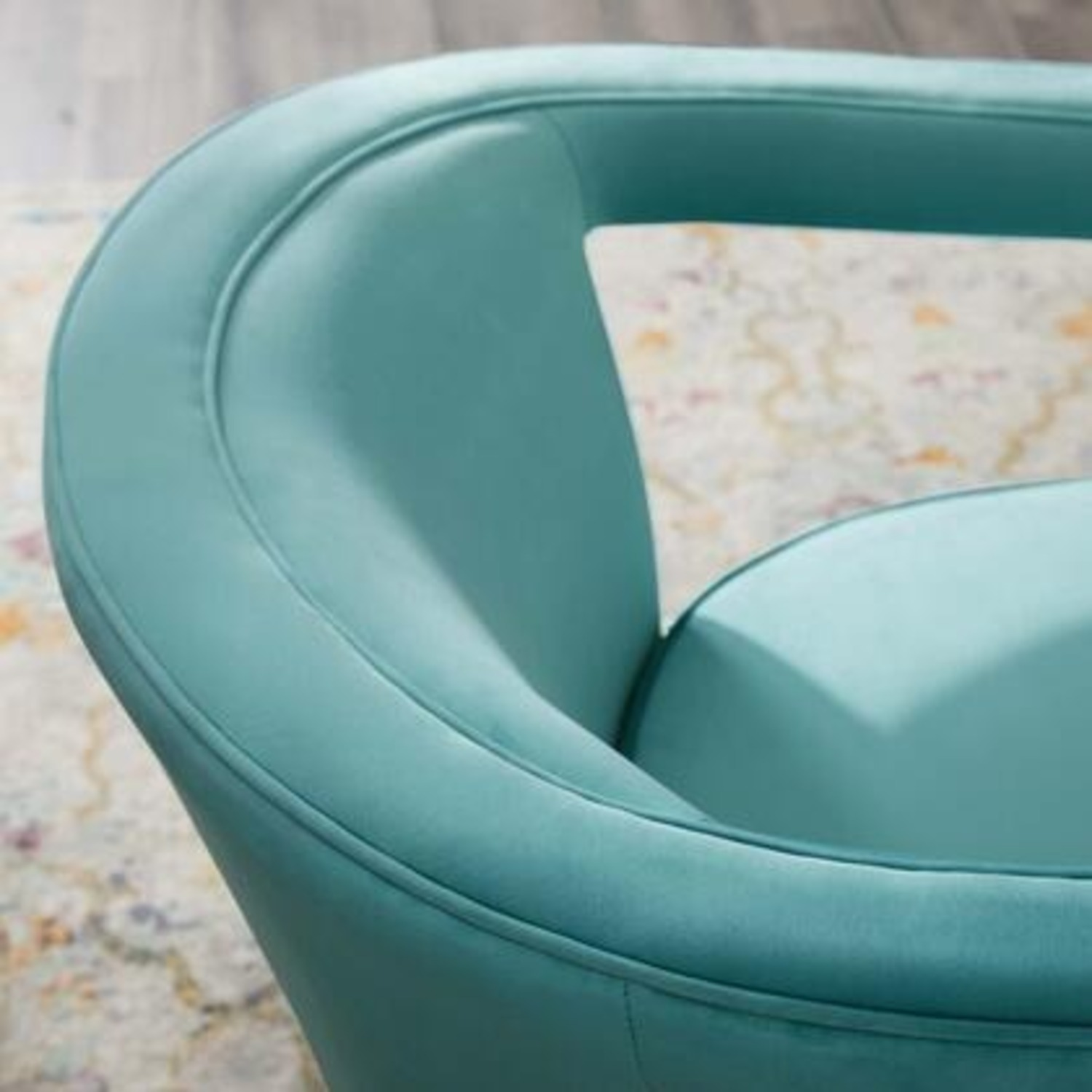 Glam Deco Style Armchair In Mint Velvet Fabric - image-5