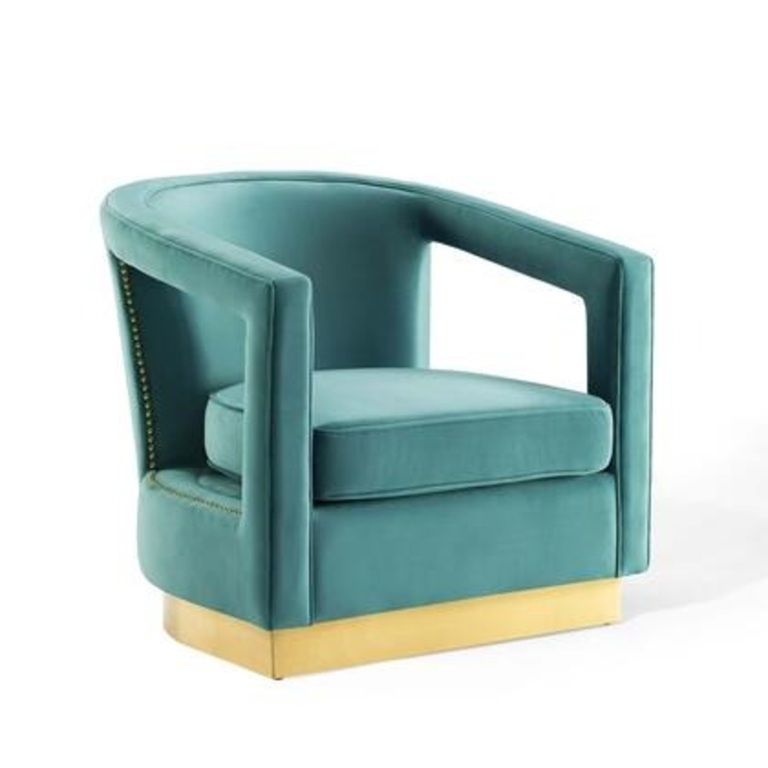 Glam Deco Style Armchair In Mint Velvet Fabric - image-0
