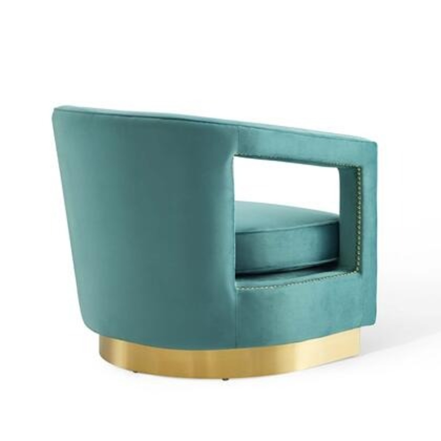 Glam Deco Style Armchair In Mint Velvet Fabric - image-2