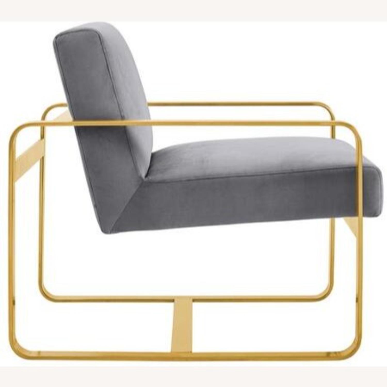 Modern Armchair In Gray Velvet W/ Open Design - image-1