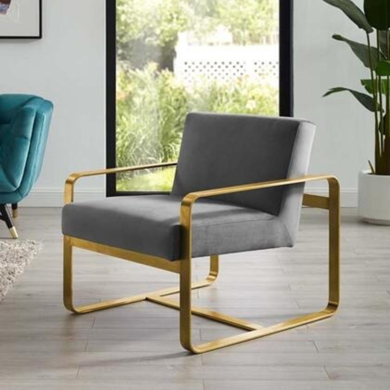 Modern Armchair In Gray Velvet W/ Open Design - image-3