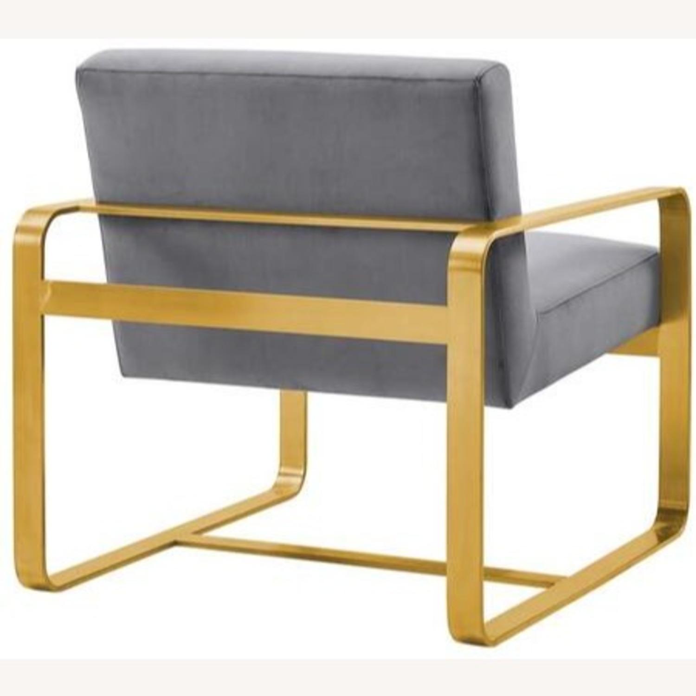 Modern Armchair In Gray Velvet W/ Open Design - image-2