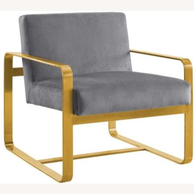 Modern Armchair In Gray Velvet W/ Open Design - image-0
