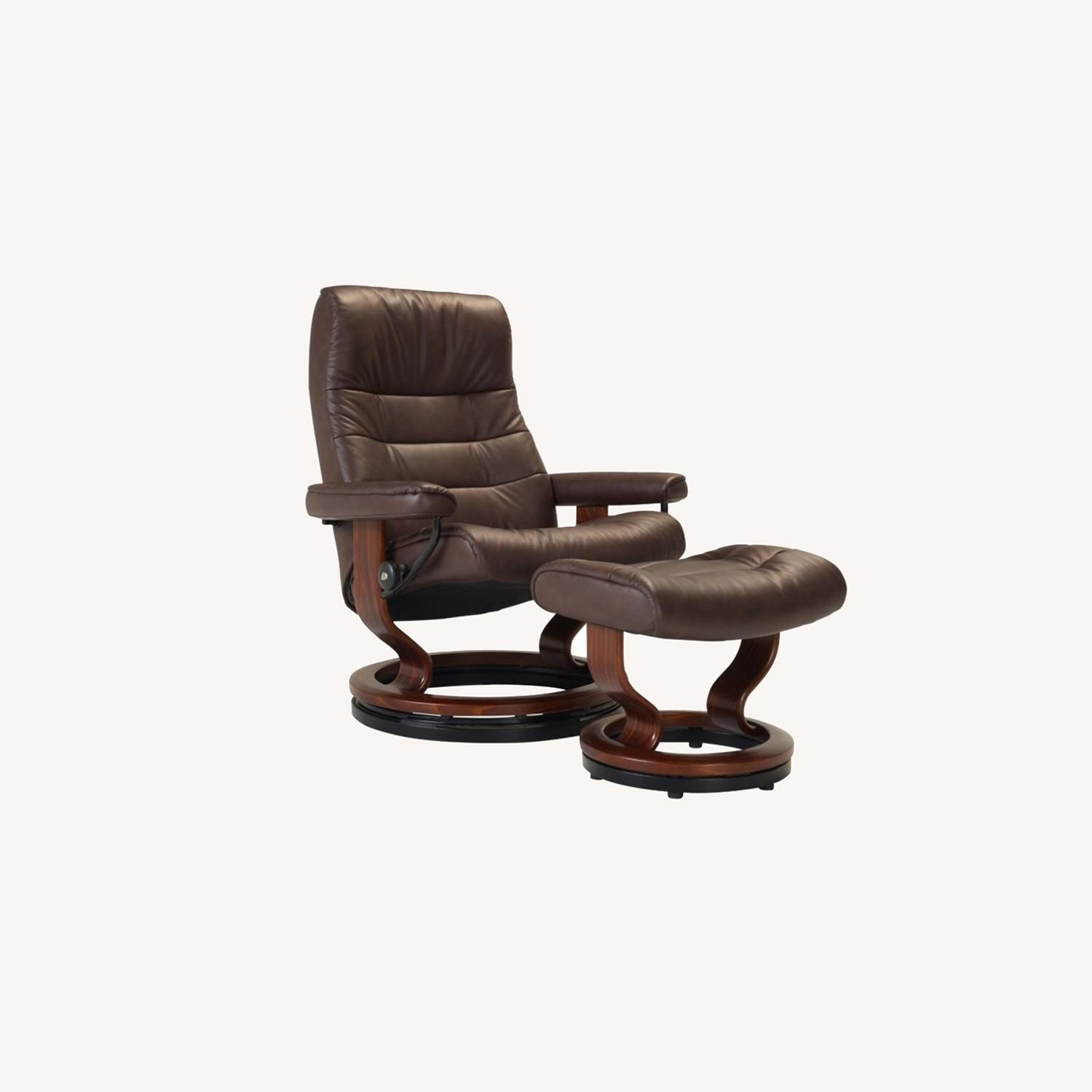 Raymour & Flanigan Leather Reclining Chair and Ottoman - image-0