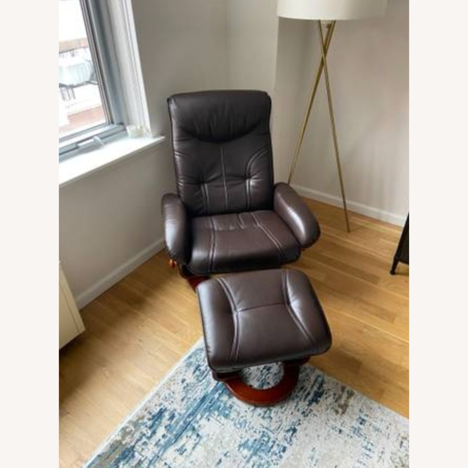 Raymour & Flanigan Leather Reclining Chair and Ottoman - image-1