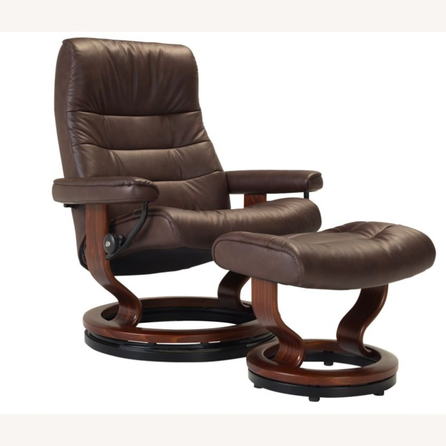 Raymour & Flanigan Leather Reclining Chair and Ottoman - image-2