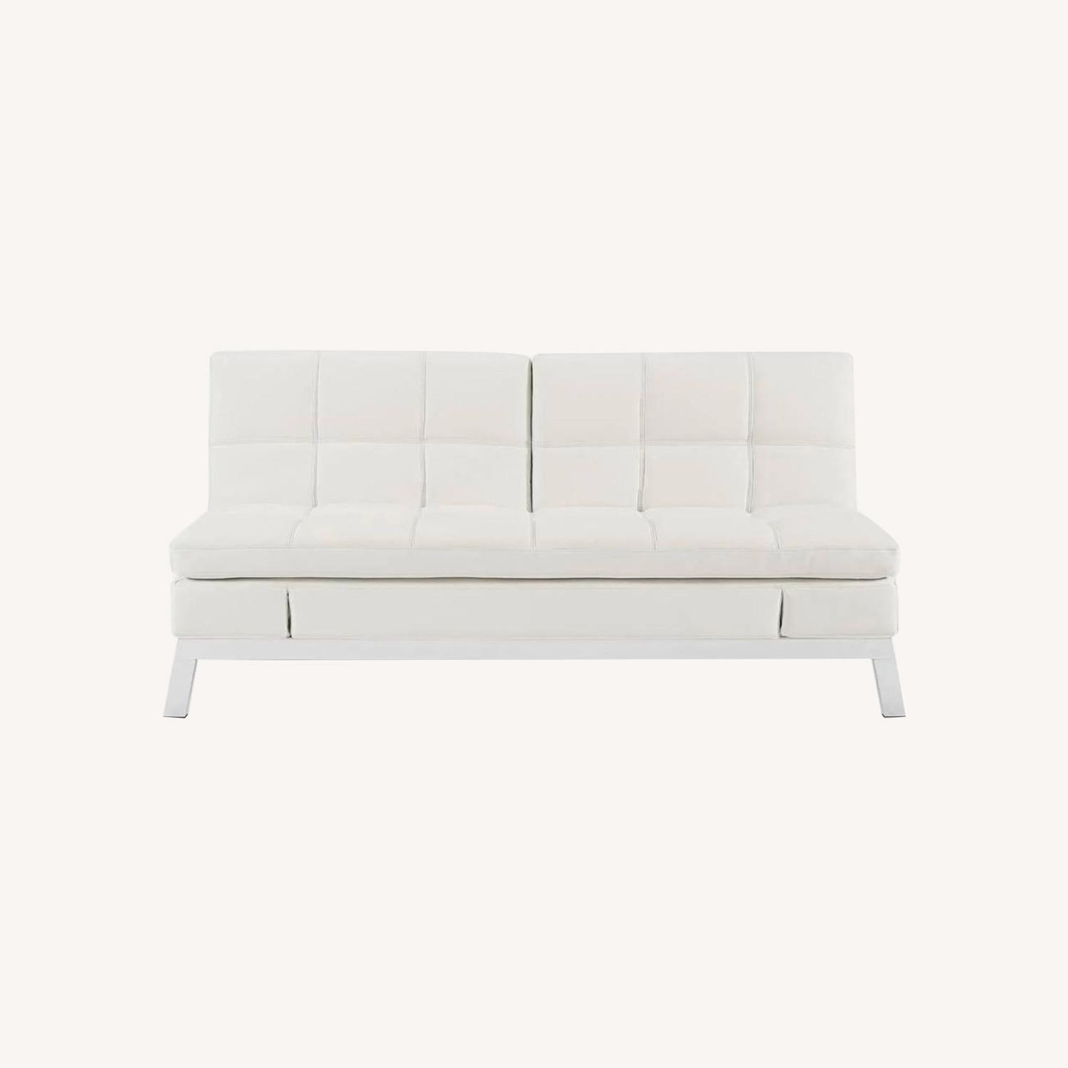 Coddle Toggle Convertible Couch Perl/White Leather - image-0