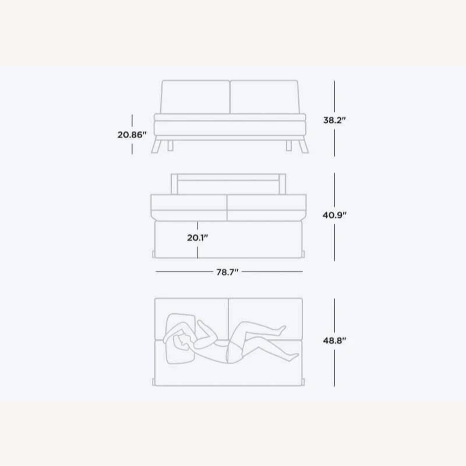 Coddle Toggle Convertible Couch Perl/White Leather - image-4