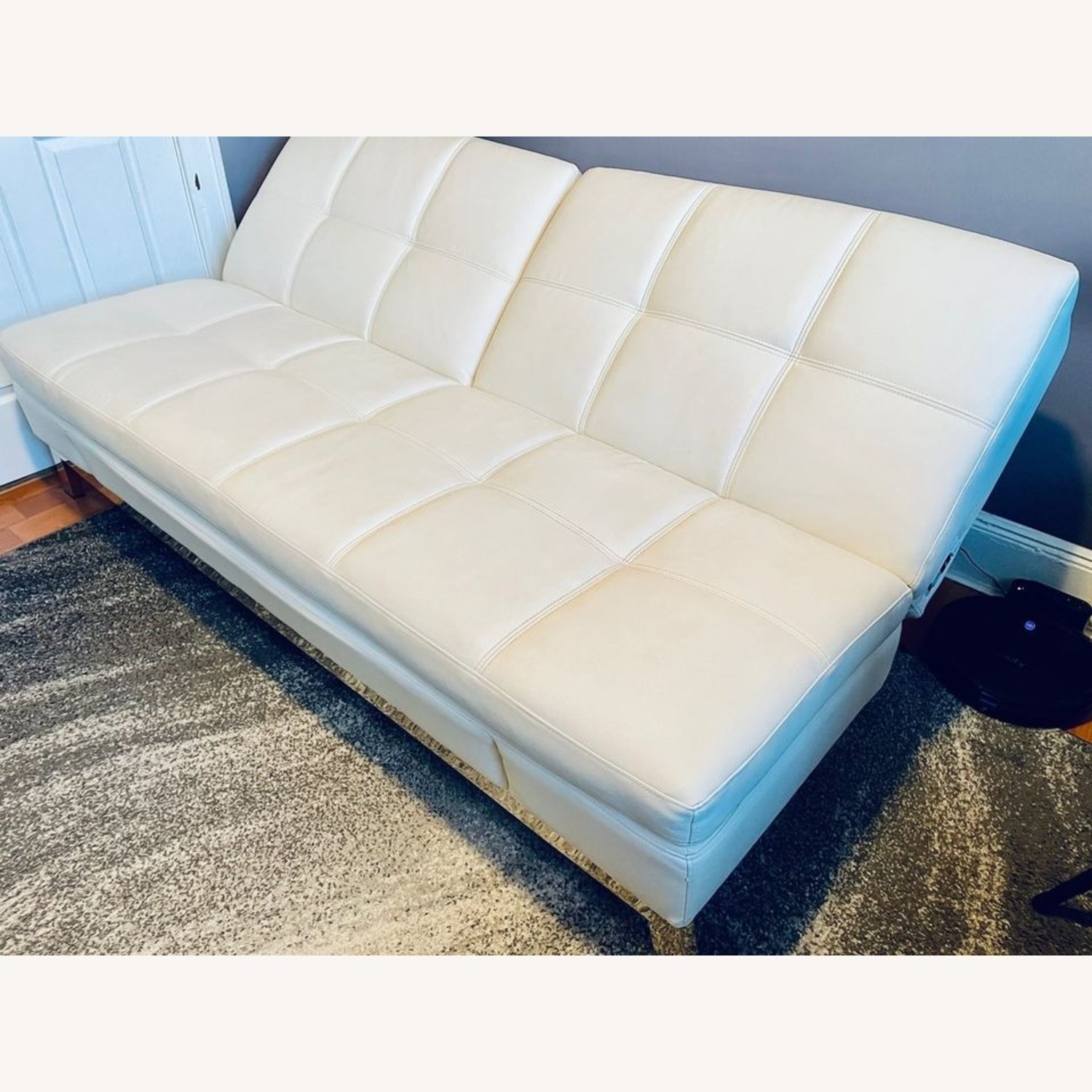 Coddle Toggle Convertible Couch Perl/White Leather - image-1