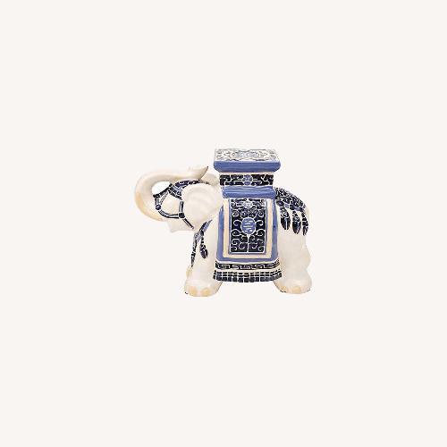 Used One King's Lane Blue & White Ceramic Elephant for sale on AptDeco