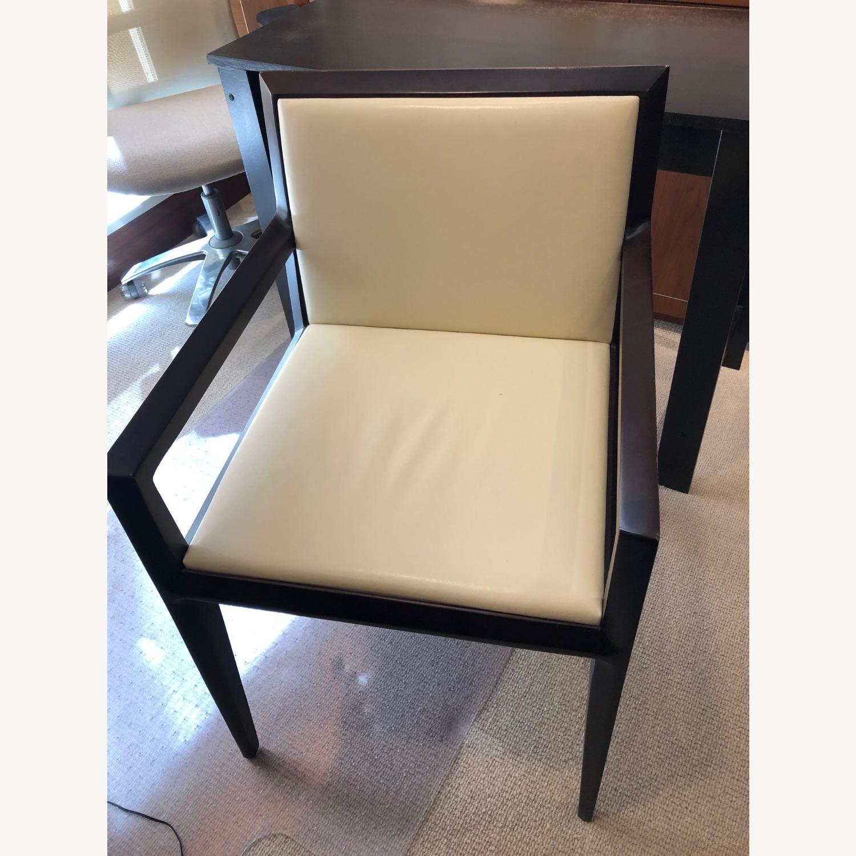Vintage Cream Leather Armchair - image-1