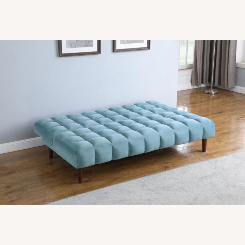 Sofa Bed In Teal Velvet W/ Walnut Finish Legs - image-8
