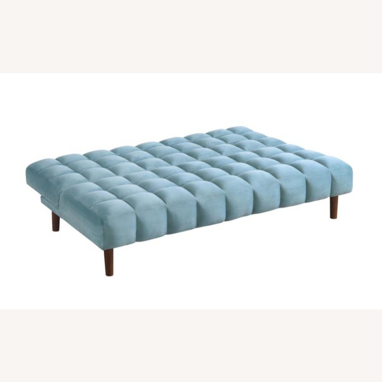 Sofa Bed In Teal Velvet W/ Walnut Finish Legs - image-1